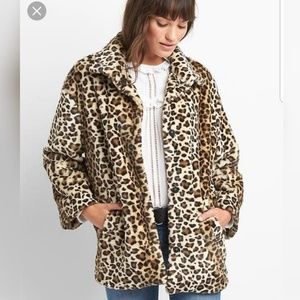 Gap Faux Fur Leopard Print Coat